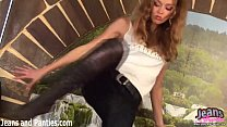 tight teen alex stripping off her skinny jeans