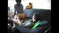 cheating husband fucks maid on the couch