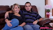 Real amateur couple tries swinging for the firs...)