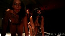 Chained and gagged babes punished in femdom