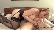 cute blonde cougar gets penetrated hard