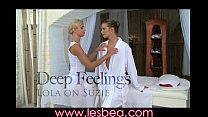Lesbea Cute blonde teen rubs her oiled body and...