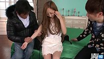 Erena Aihara looks so sweet in a cream lace dress with panties that match thumbnail