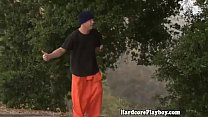 Teen babe fucked by con closeup outdoors