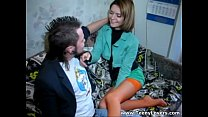 Teen in orange nylons takes cock