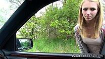Stranded blonde teen fucking in car pov