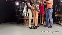 Two amateur babes partying in foursome in tv st...