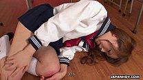 Aroused Asian schoolgirl sucking on the teacher...