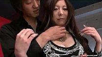 Groping her sexy big Japanese titties