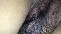 hairy wife in black bra and tight asshole enjoying doggy style with husband friend