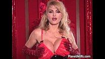 Busty blonde MILF fucks her pussy