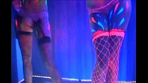 Neon MFF threesome in fishnet lingerie and heels