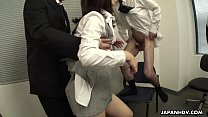 Office Asian whore sucking on three co-workers porn videos