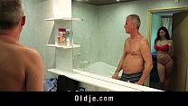 Busty nasty girl gives old man wet pleasing in the bathtub porn videos