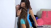 Busty MILF shares a cock with her stepdaughter and they give a sloppy b-daughter
