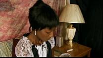 Ebony maid goofs off on the job then has to fuc...