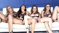 Four Hot Porn Chicks Licking And Fucking With K...