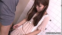 asian teen jerking on the strangers cock in bathroom