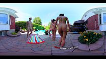 3-Way Porn - VR Group Orgy by the Pool in Publi...