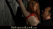 Rebellious redhead masturbated in a harsh bdsm ...
