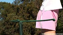 lessons golf her after hard fucked gets babe busty Beautiful