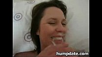 facialized gets and cock sucks and rides Milf