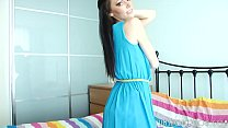 Absolutely Gorgeous Brunette Teen Taking Off He...