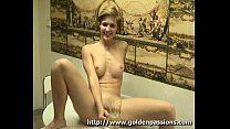 shorthaired hottie pees in a glass and drinks it