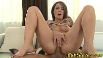 Tattooed babe ass banged after sucking cock