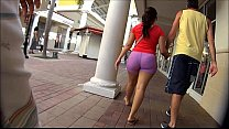 shorts spandex pink in walking latina Candid