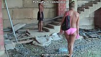 girl sucks for money in an abandoned building