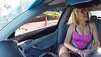 Cheated blonde teen bangs in car in public