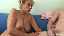 tits her on cum gets granny Blonde