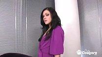 Naughty MILF in purple dress and heels disrobes...
