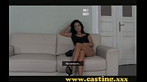 casting   sexy brunette kitten works the big cock