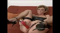 Cougar sucks on cock while using dildo on her p...