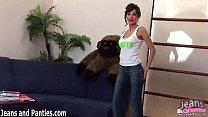 Tight brunette Kriss stripping off her skinny j...