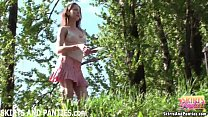 outdoors panties her flashing lilia girl country Cute