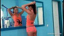 Hot lesbos exercise in the gym then starts to k...