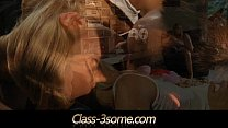 Blonde teenagers hot threesome by the chimney thumbnail