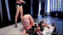 Bdsm blonde wth pussy and ass up strapon fucked...
