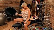 girlfriends fit blonde girl with perfect plump pussy working out