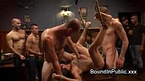 Muscle gay in a sling gangbang fucked