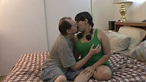 fat brunette with glasses takes a big facial