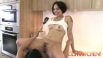 cum kitchen hairy asian lesbians mia li and milcah make cookies and eat pussy
