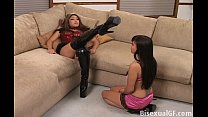 Two Asian girls playing with there feet