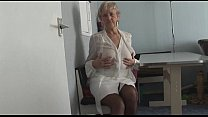 attractive granny in short skirt panty teases showing off plump pussy lips