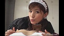 Horny Japanese Maid give the best blowjob ever ...