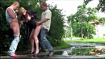 hot woman is fucked by 2 guys in public streets sex threesome