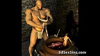 3D Ogres Cum On Lara Croft!